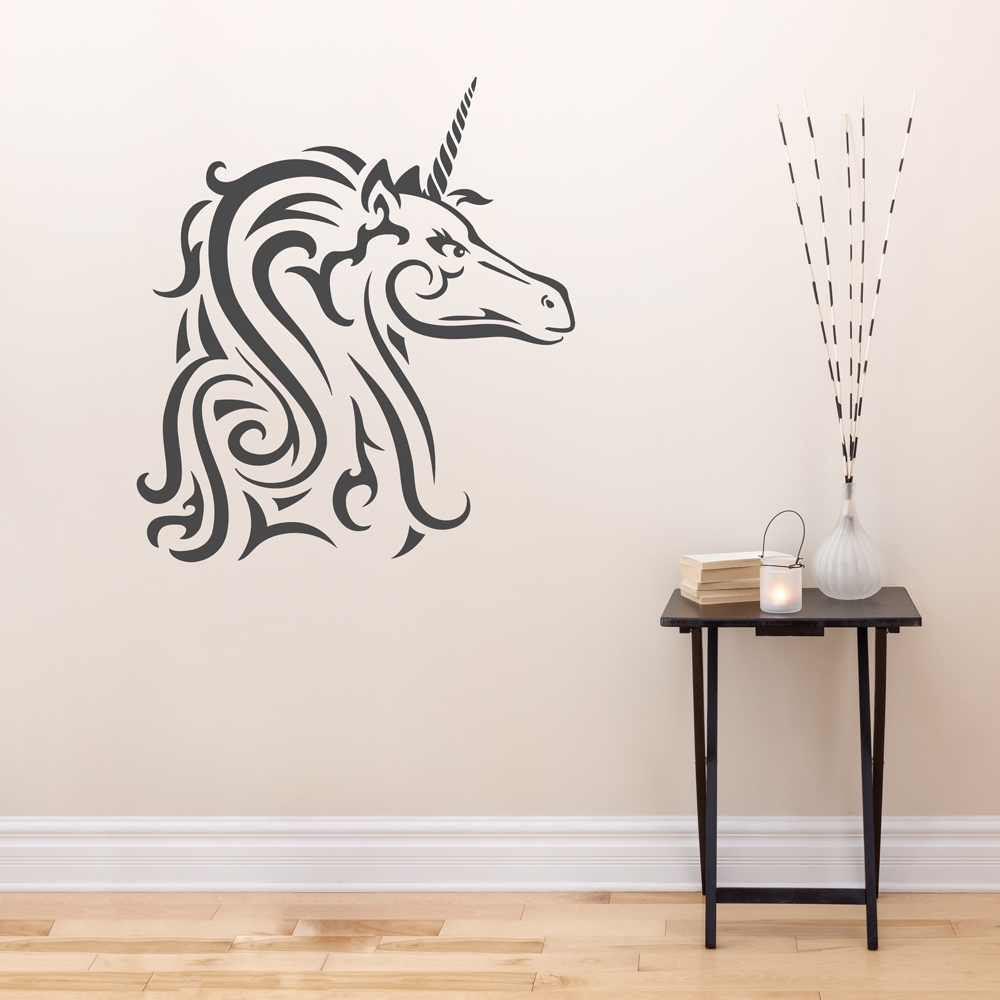 Well Known Splendid Design Ideas Unicorn Wall Art Stickers Uk Australia Nz 3D Pertaining To 3D Unicorn Wall Art (View 15 of 15)
