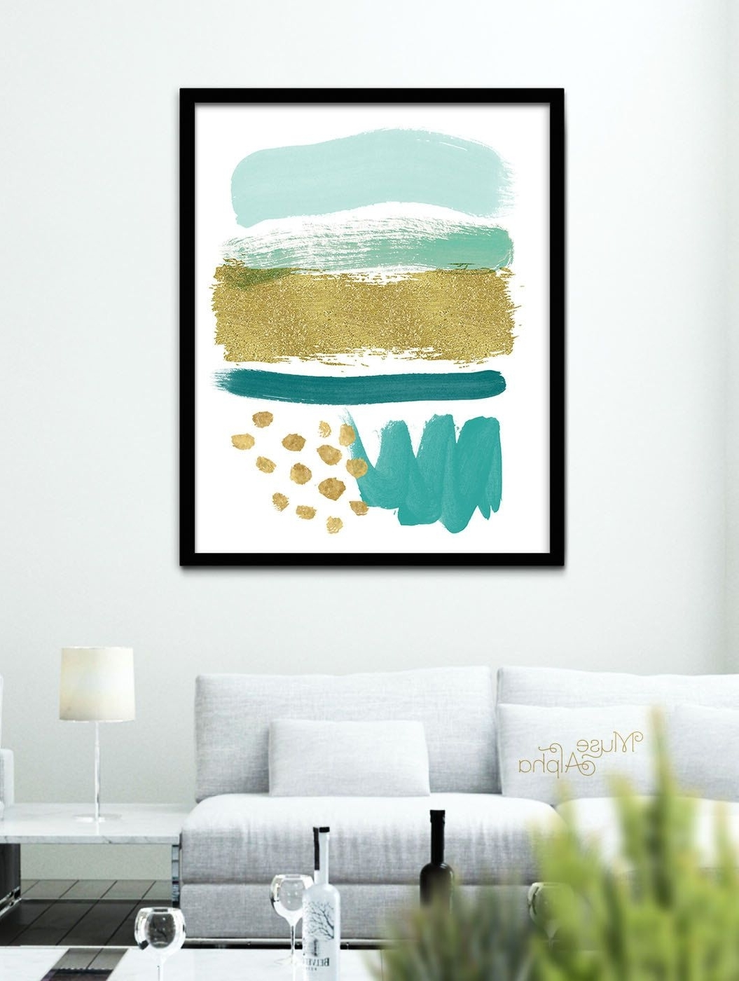 Well Known Teal And Gold Wall Art Intended For Modern Abstract Art Printable, Turquoise, Mint And Gold Abstract (View 5 of 15)