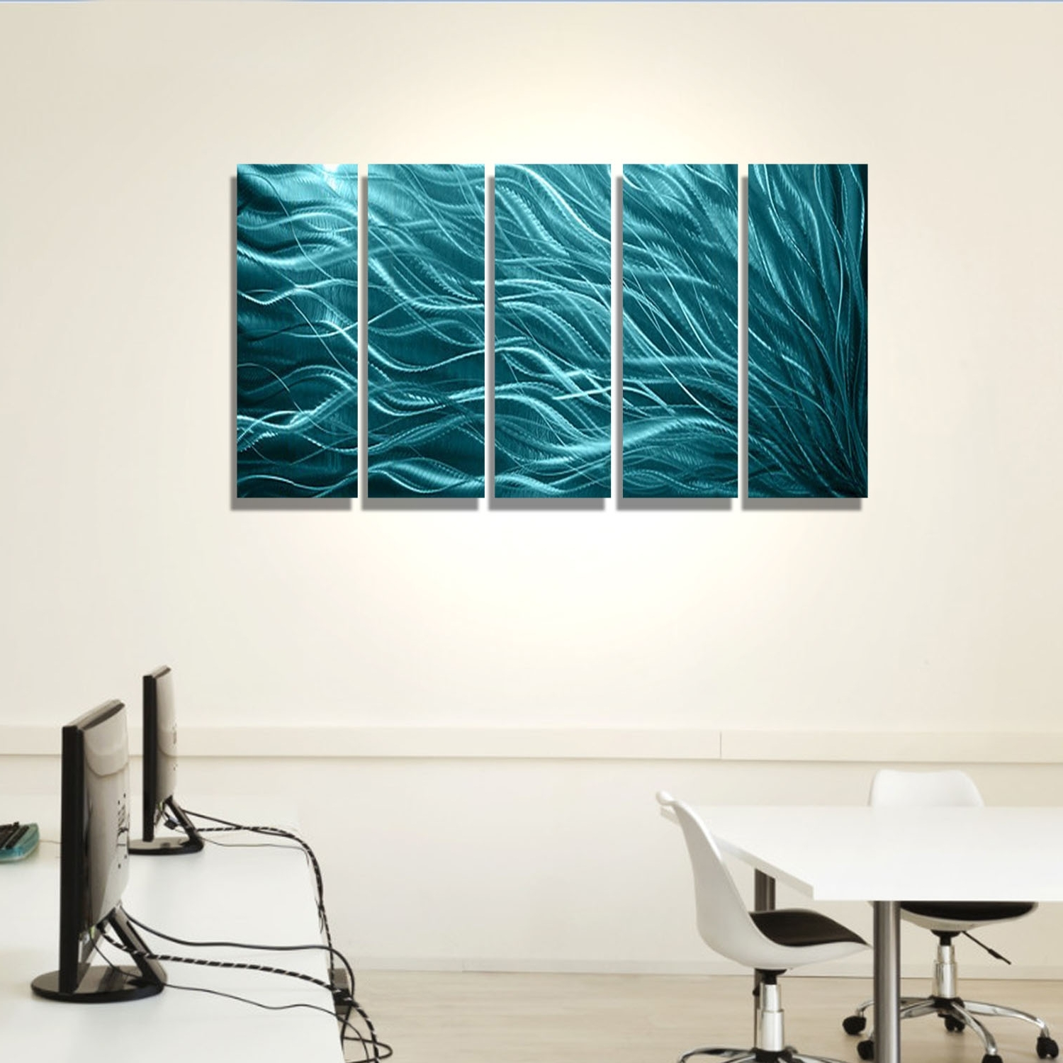 Well Known Teal Metal Wall Art In Aqua Sea Grass – Aqua Blue Metal Wall Art – 5 Panel Wall Décor (View 14 of 15)