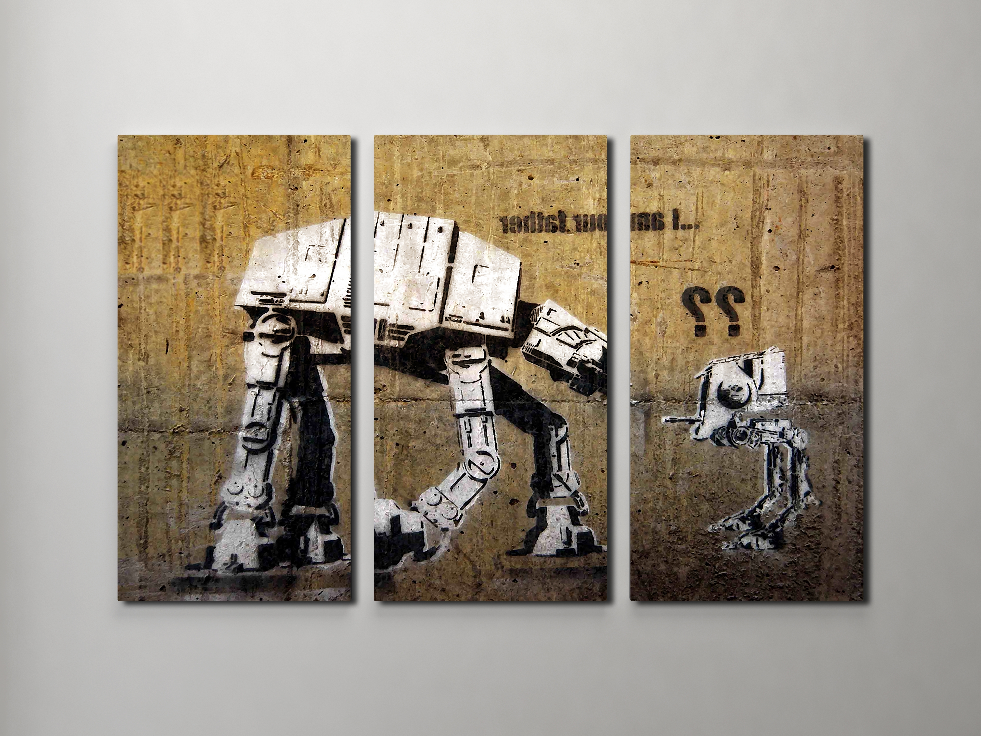 Well Known Triptych Art For Sale In Banksy I Am Your Father (Star Wars) Triptych Canvas Wall Art (View 13 of 15)