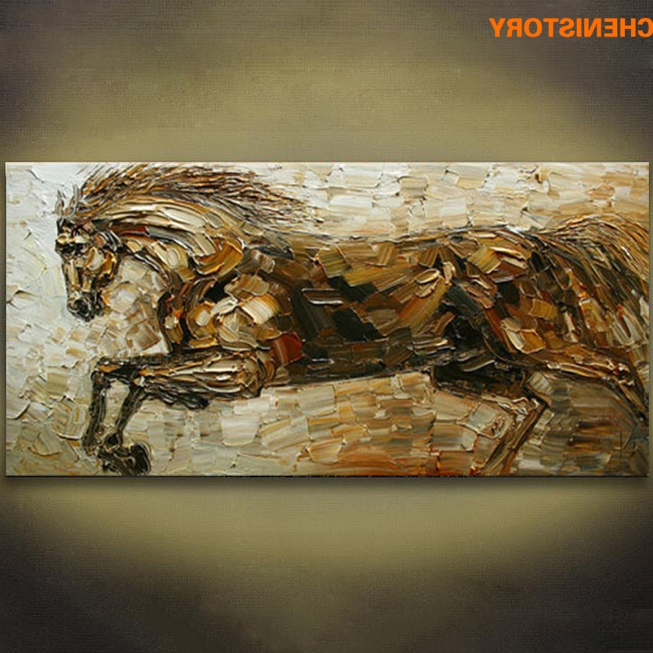 Well Known Unframed Abstract Running Horse Animals Handpainted Oil Painting In Abstract Horse Wall Art (View 15 of 15)