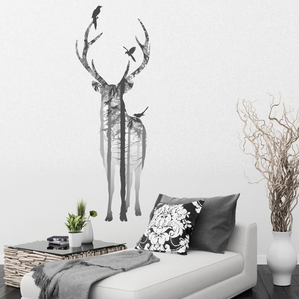 Well Known V&c Designs Ltd (Tm) Large Stylish Stag In The Woods Vinyl Wall With Stag Wall Art (View 15 of 15)