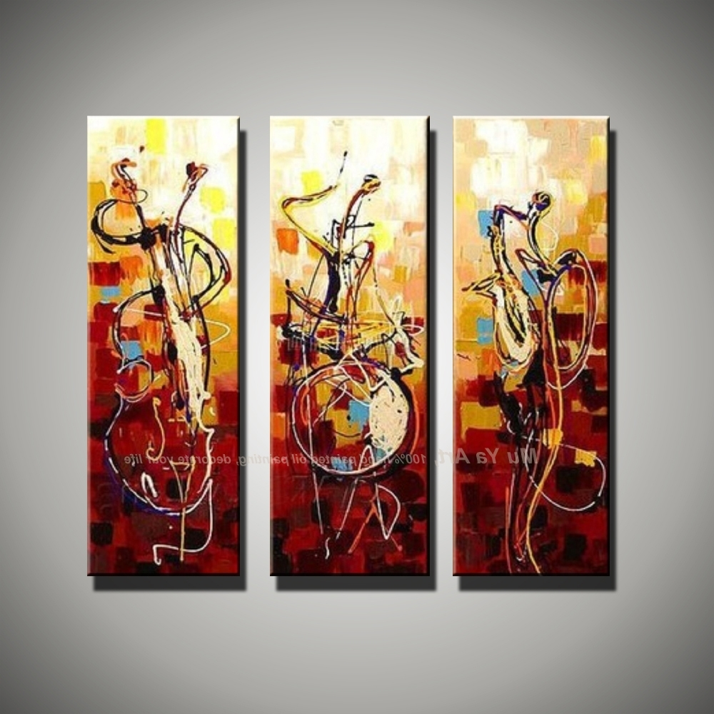 Well Known Vertical Music Art Knife Painting Canvas Abstract Modern 3 Piece In 3 Piece Modern Wall Art (View 12 of 15)