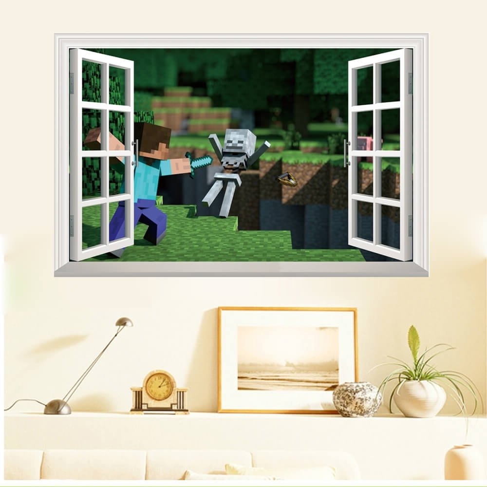 Well Known Vintage 3D Wall Art With Minecraft Wall Stickers Vintage Minecraft Wall Art – Wall Art And (View 15 of 15)