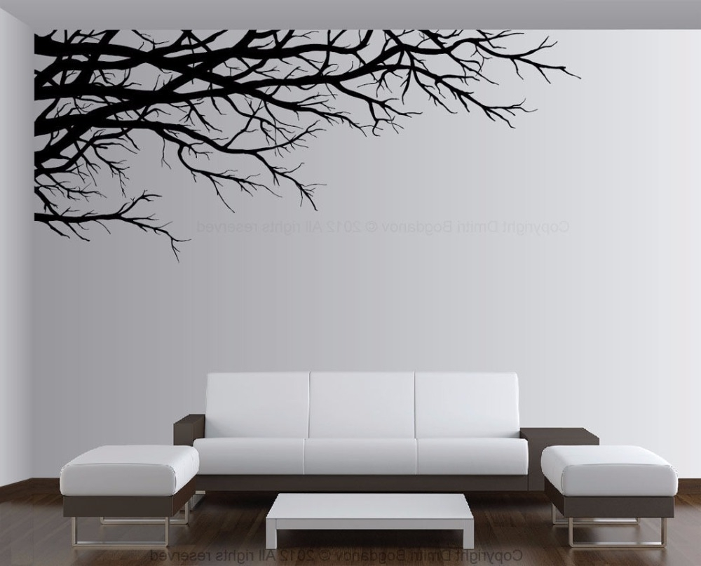 Well Known Vinyl Wall Art Tree Throughout Tree Vinyl Wall Decal Tree Top Branch Mural Wall Sticker Tree (View 13 of 15)