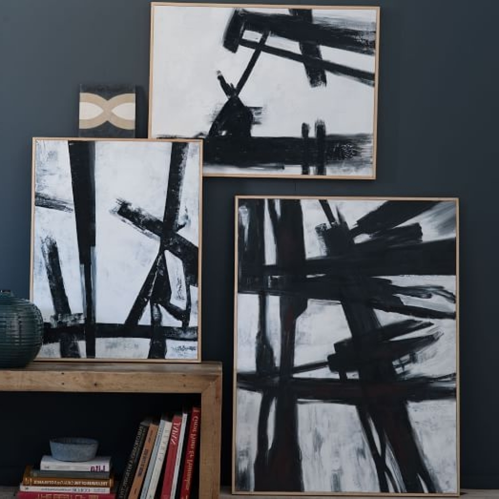Well Known Wall Art Black Abstract Black White Wall Art West Elm Designs Inside West Elm Abstract Wall Art (View 10 of 15)
