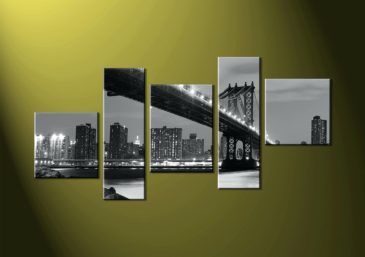 Well Known Wall Arts ~ Home Decor 5 Piece Canvas Wall Art Black And White Inside Groupon Wall Art (View 12 of 15)