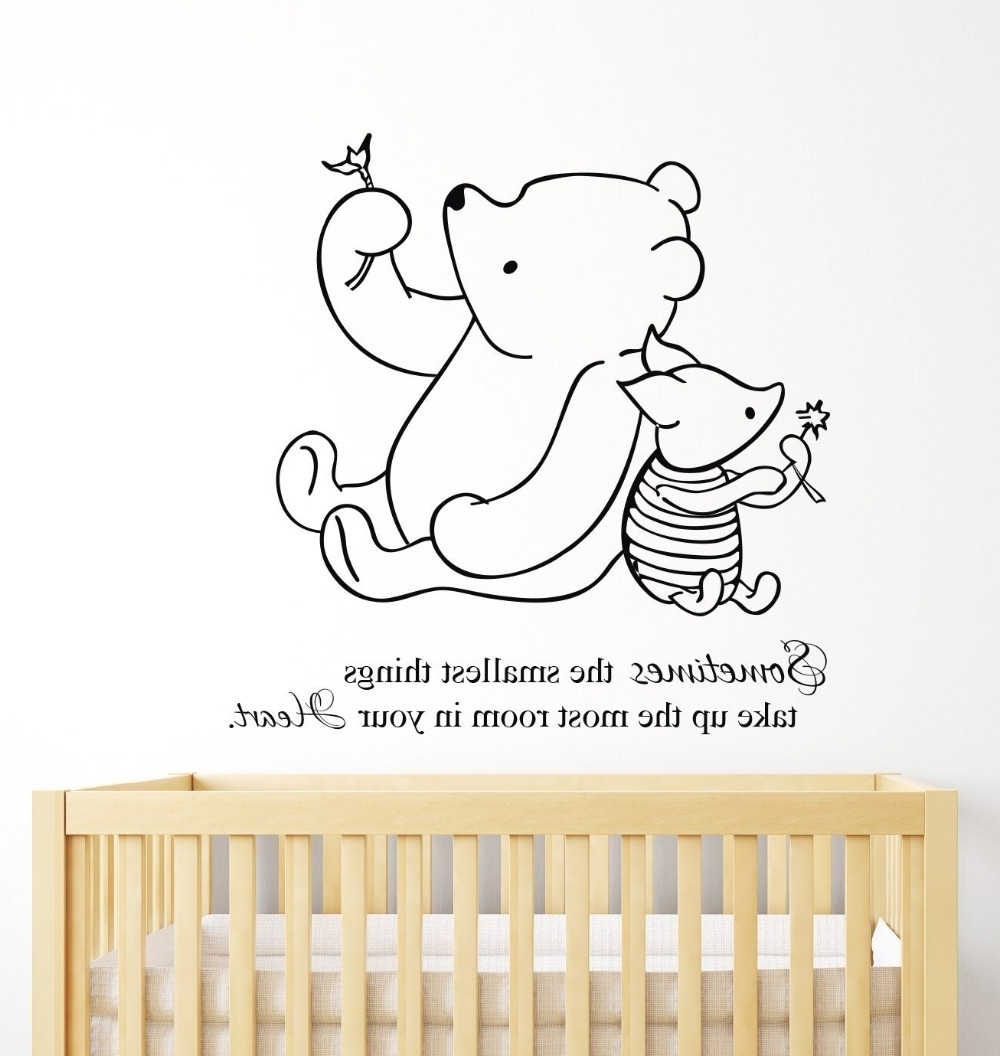 Well Known Winnie The Pooh Nursery Quotes Wall Art Pertaining To Free Shipping Winnie The Pooh & Piglet Home Decoration Baby Quote (View 10 of 15)