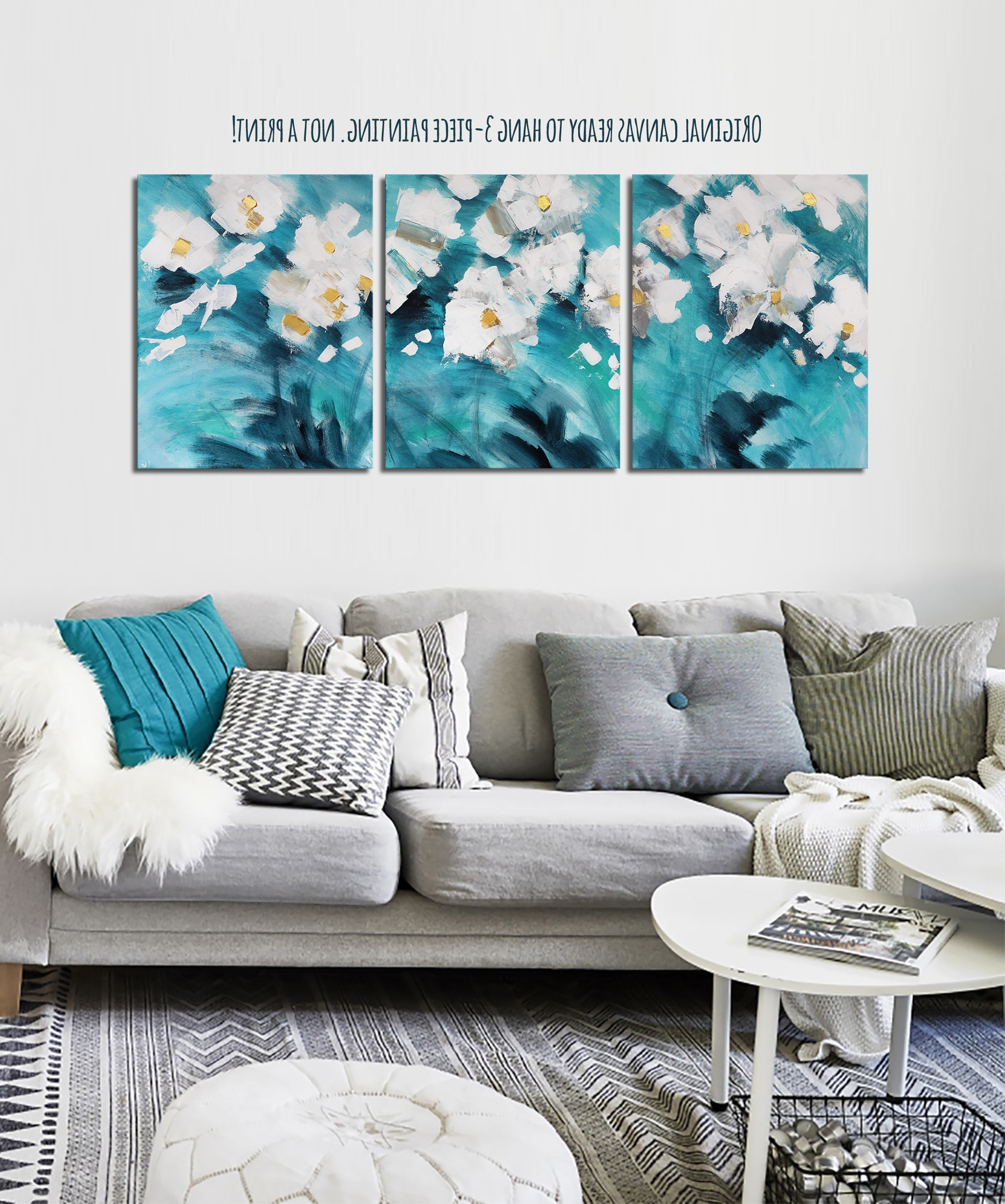 "Well Liked 20x48"" Teal Original Canvas Art Teal And Gold Decor Turquoise Inside Teal And Gold Wall Art (View 11 of 15)"