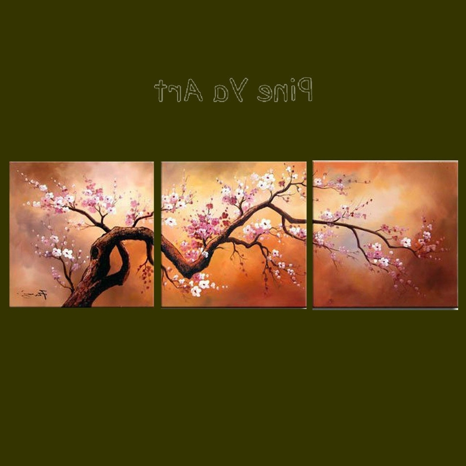 Well Liked 3 Panel Abstract Modern Canvas Wall Art Pink Cherry Blossom Throughout Cherry Blossom Oil Painting Modern Abstract Wall Art (View 15 of 15)