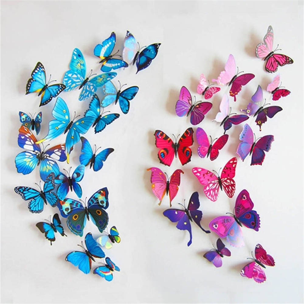 Well Liked 3D Butterfly Wall Art Intended For 12 Pcs Magnet 3D Butterfly Art Wall Stickers Home Decals Party (View 15 of 15)