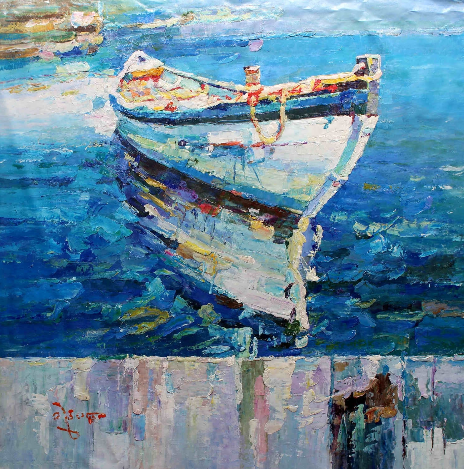 "Well Liked 40x40"" – Original Modern Italian Art Oil Painting – Fishing Boat Intended For Modern Italian Wall Art (View 11 of 15)"