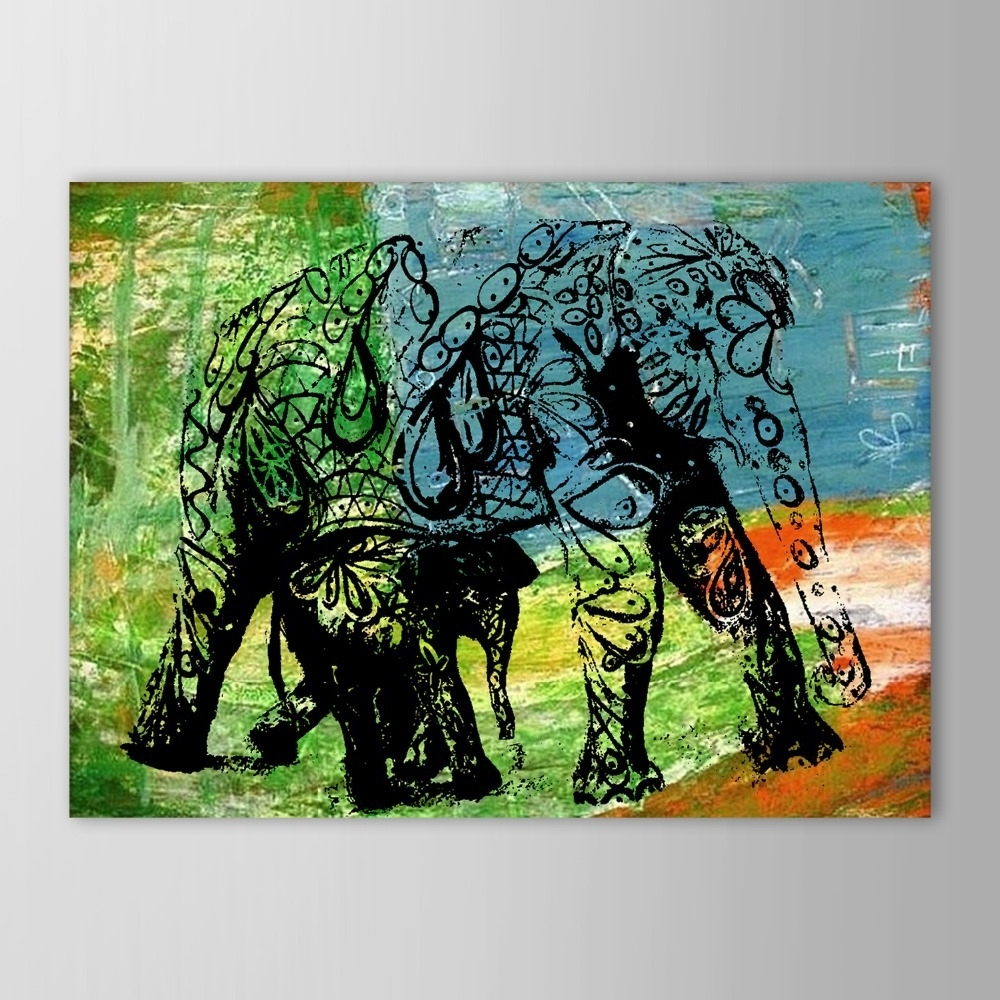 Well Liked Abstract Elephant Wall Art Intended For Hand Painted Oil Painting Animal Abstract Elephant Wall Picture (View 14 of 15)