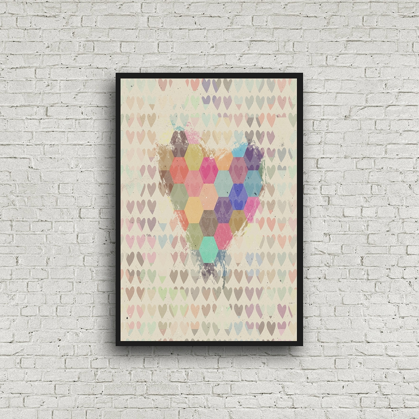 Well Liked Abstract Heart Wall Art Geometric Heart Print Dorm Wall Art Inside Abstract Heart Wall Art (View 8 of 15)
