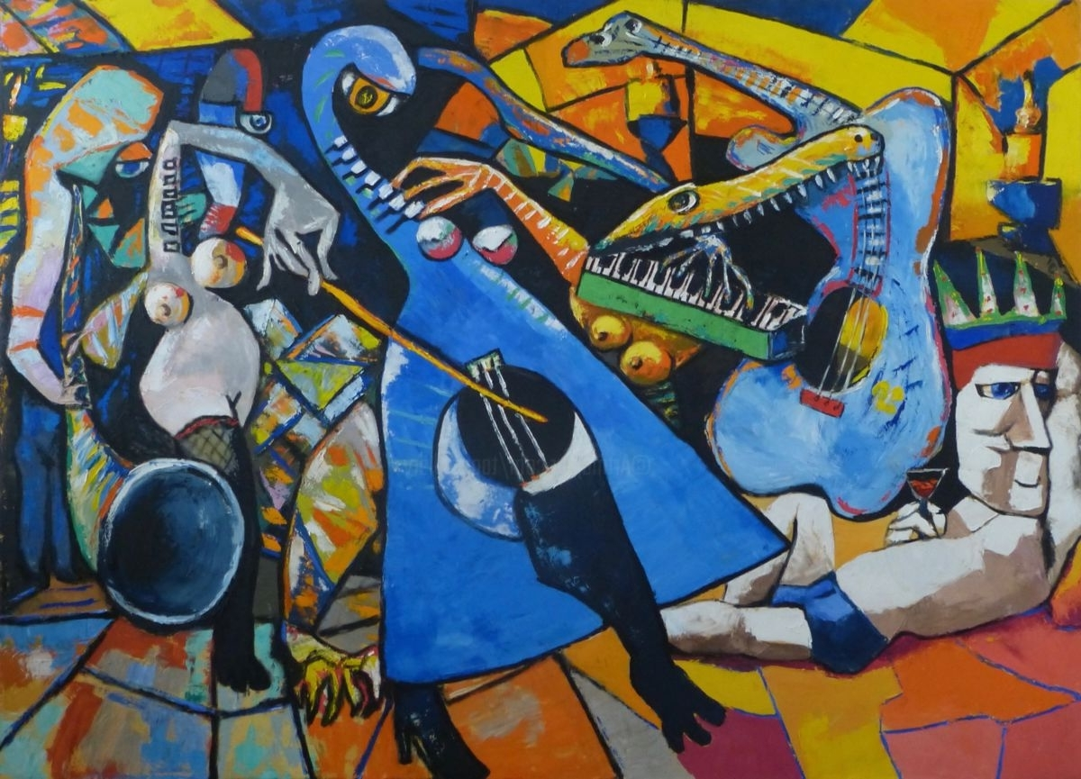 Well Liked Abstract Musical Notes Piano Jazz Wall Artwork Within King Of Jazz And His Band (ta) (View 12 of 15)