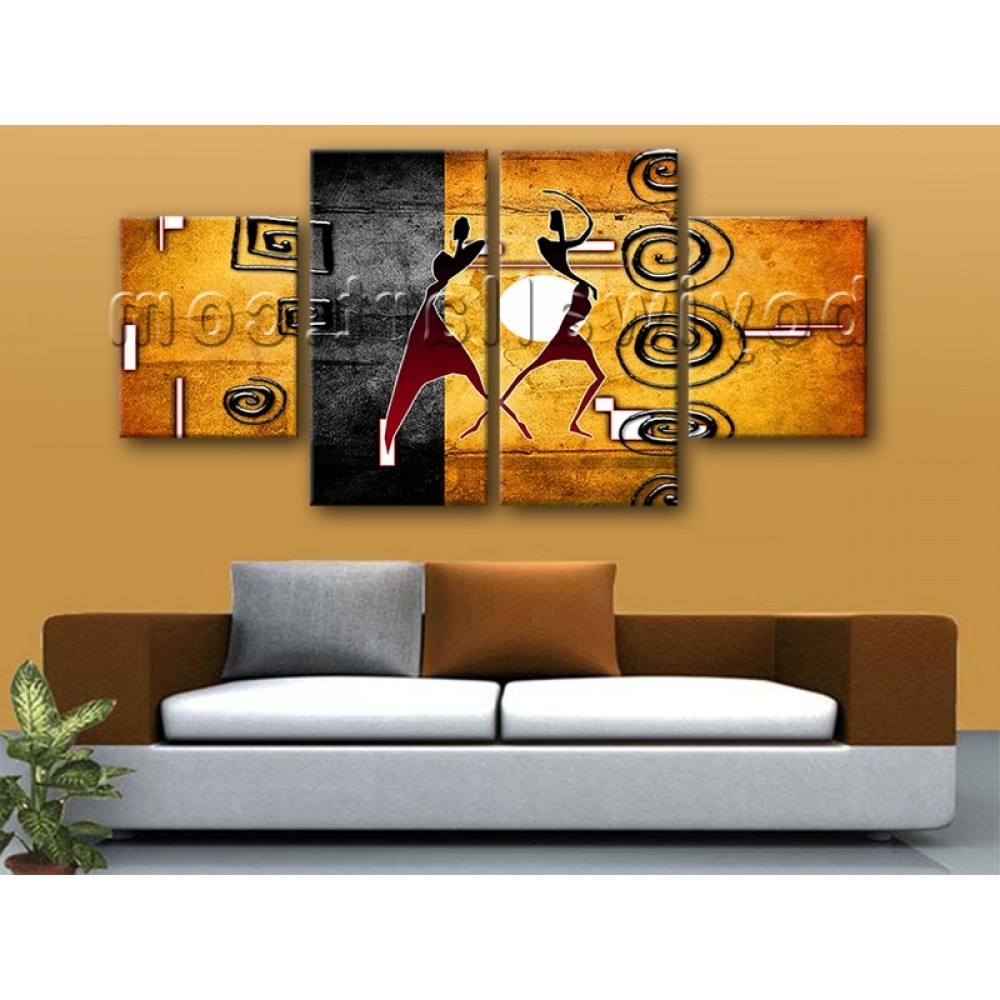 Well Liked Abstract Wall Art For Dining Room Regarding Large African Retro Abstract Wall Art On Canvas Dining Room Four (View 6 of 15)