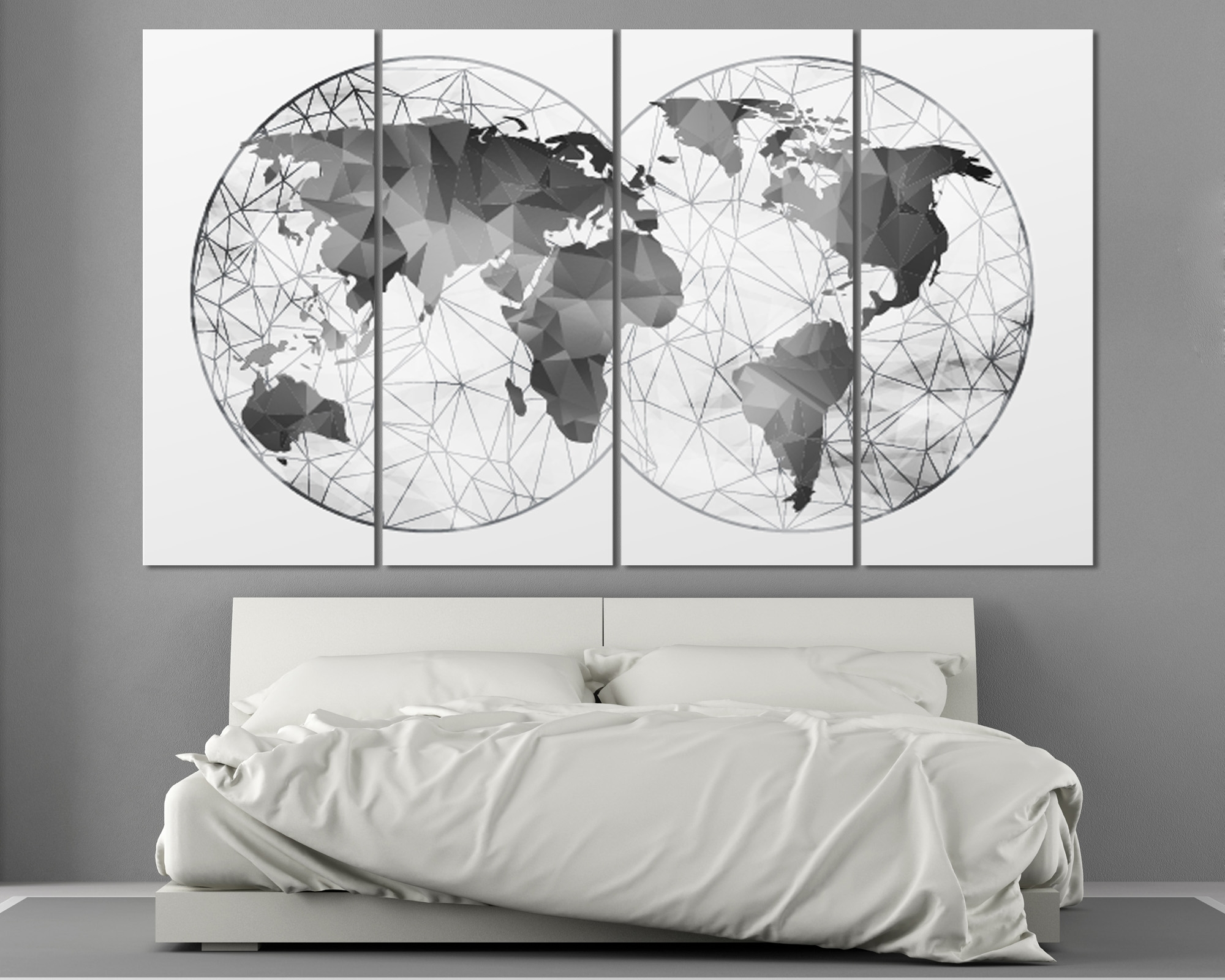 Well Liked Abstract World Map Wall Art For Double Hemisphere Black & White Abstract World Map At (View 13 of 15)