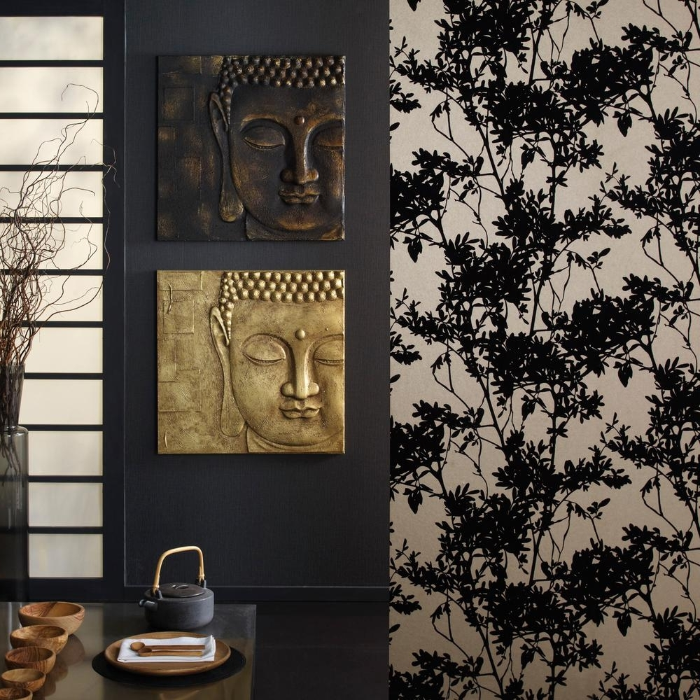 Well Liked Arthouse 24 In. X 24 In. X 1. In. 3D Black And Gold Buddha With In 3D Buddha Wall Art (Gallery 4 of 15)