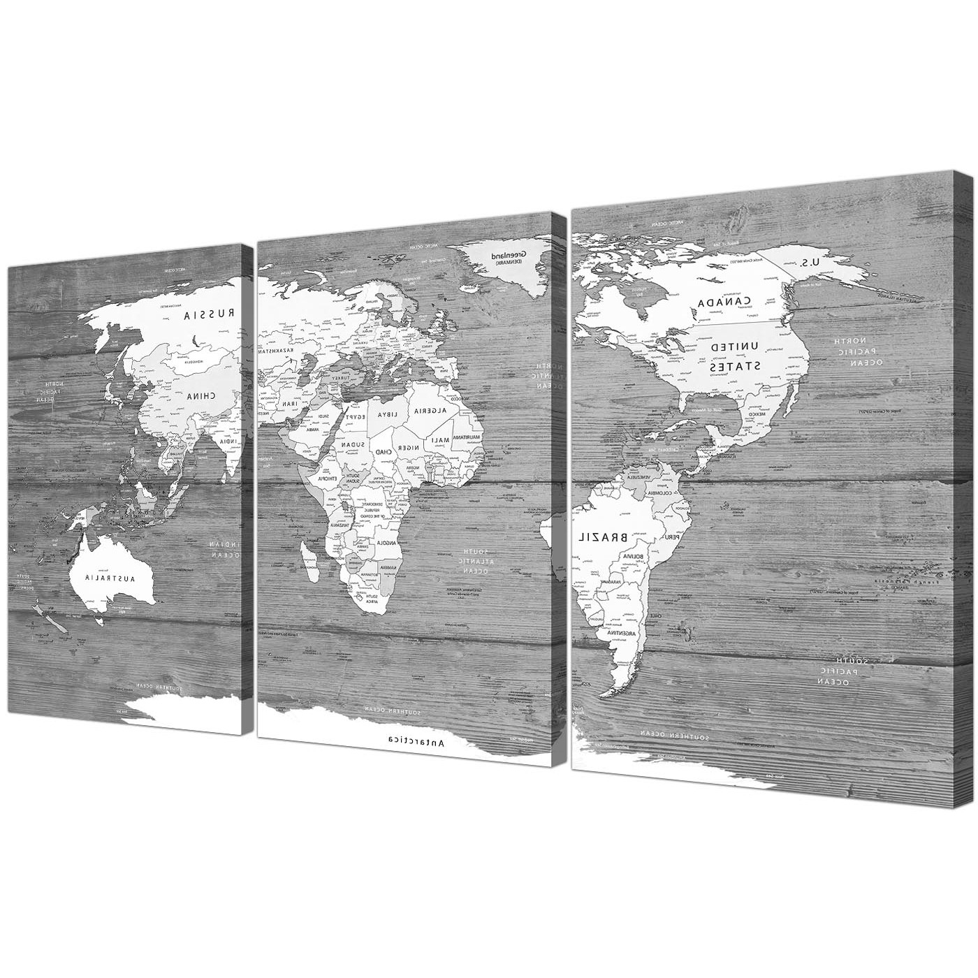 Well Liked Black And White Wall Art For Large Black White Map Of World Atlas – Canvas Wall Art Print (View 15 of 15)