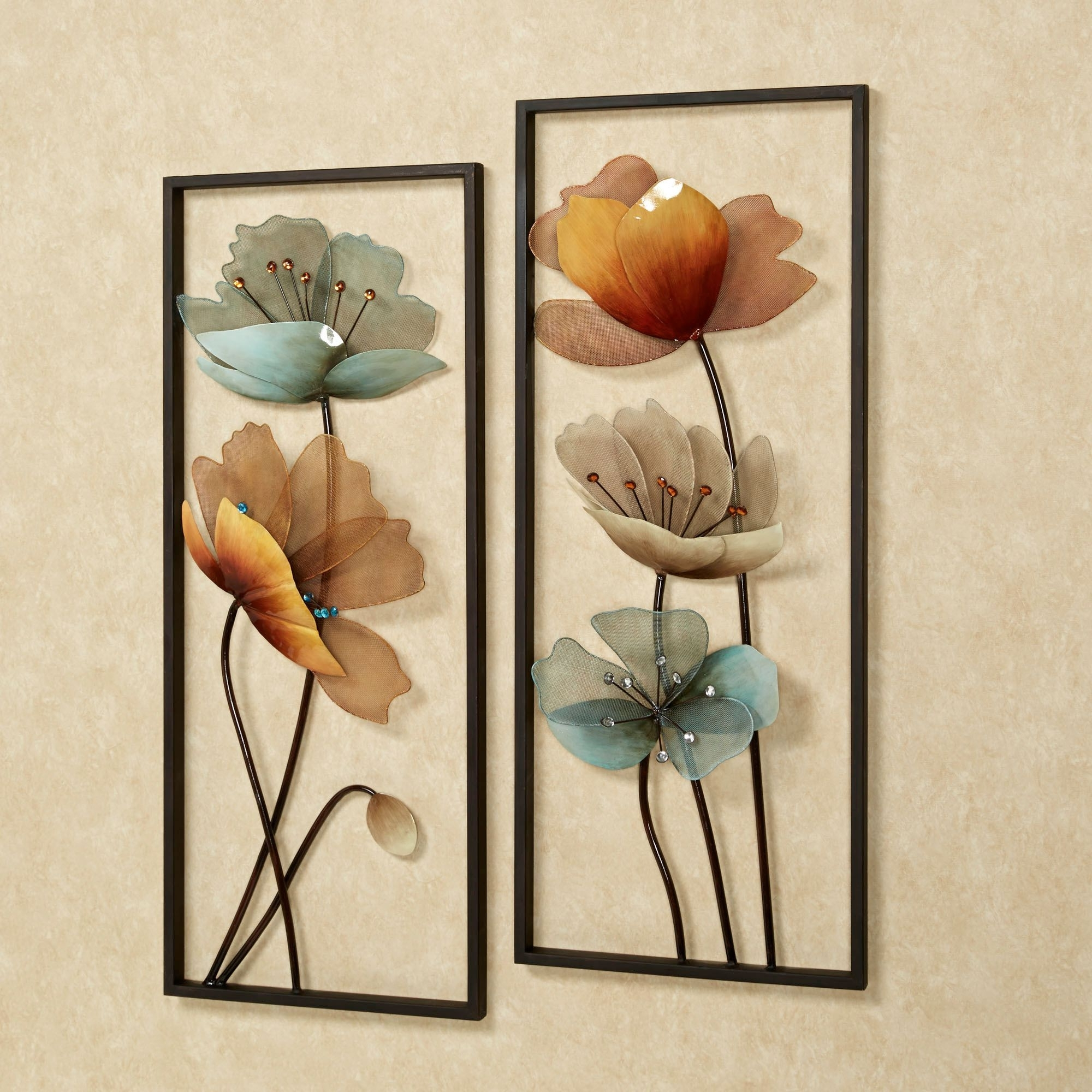 Well Liked Brown And Turquoise Wall Art Regarding Tuscany In Bloom Floral Metal Wall Art Set (View 7 of 15)