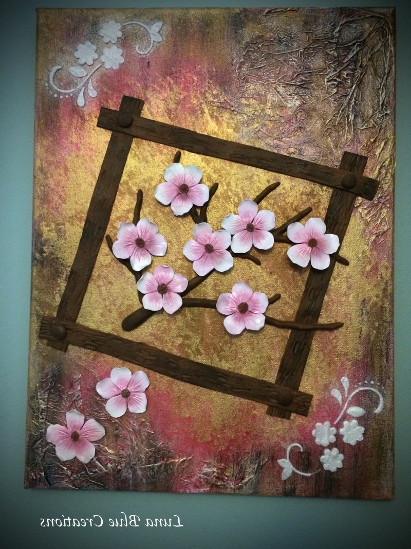 Well Liked Cherry Blossom Mixed Media Polymer Clay On Canvas – Luna Blue In Polymer Clay Wall Art (View 14 of 15)