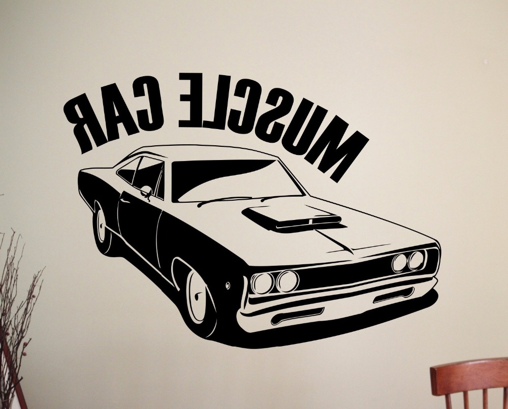 Well Liked Classic Car Wall Art Throughout Classic Muscle Car Wall Sticker Removable Vinyl Wall Decal Wall (View 6 of 15)