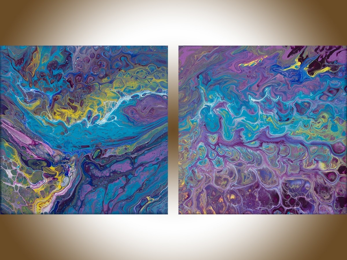 "Well Liked Colourful Abstract Wall Art Throughout Grand Canyonqiqigallery 24"" X 12"" Fluid Art Colourful Abstract (View 15 of 15)"
