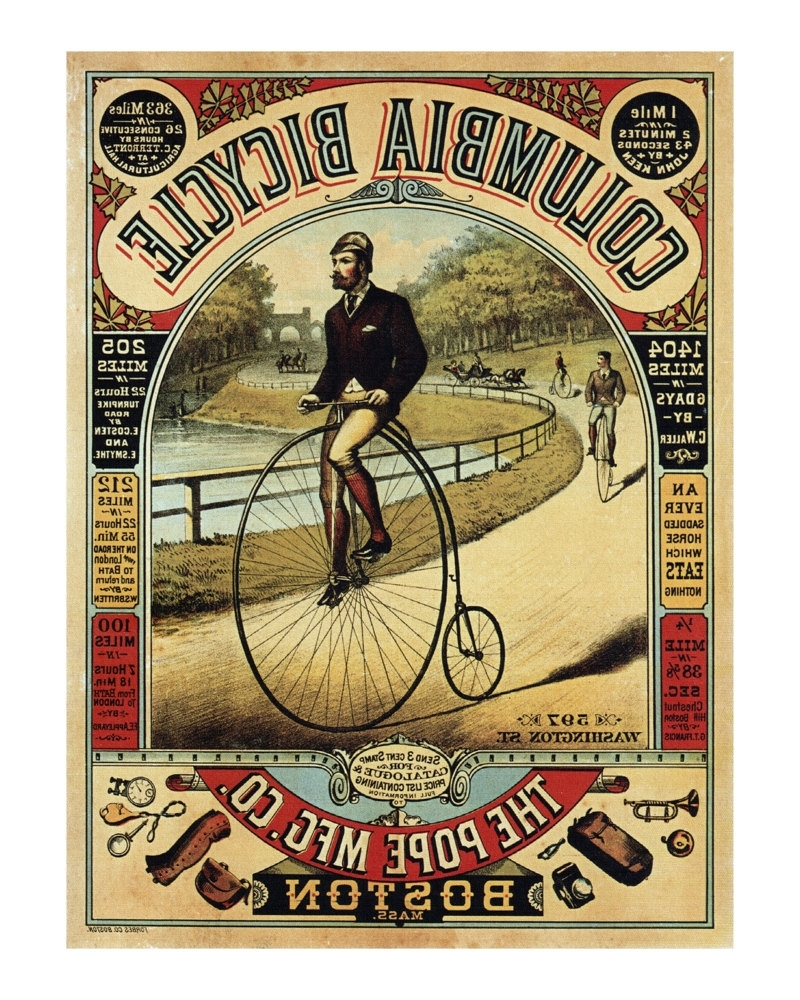 Well Liked Columbia Bicycle Advertisement – Antique Bike Ad Poster – Old Maps Pertaining To Cycling Wall Art (View 10 of 15)