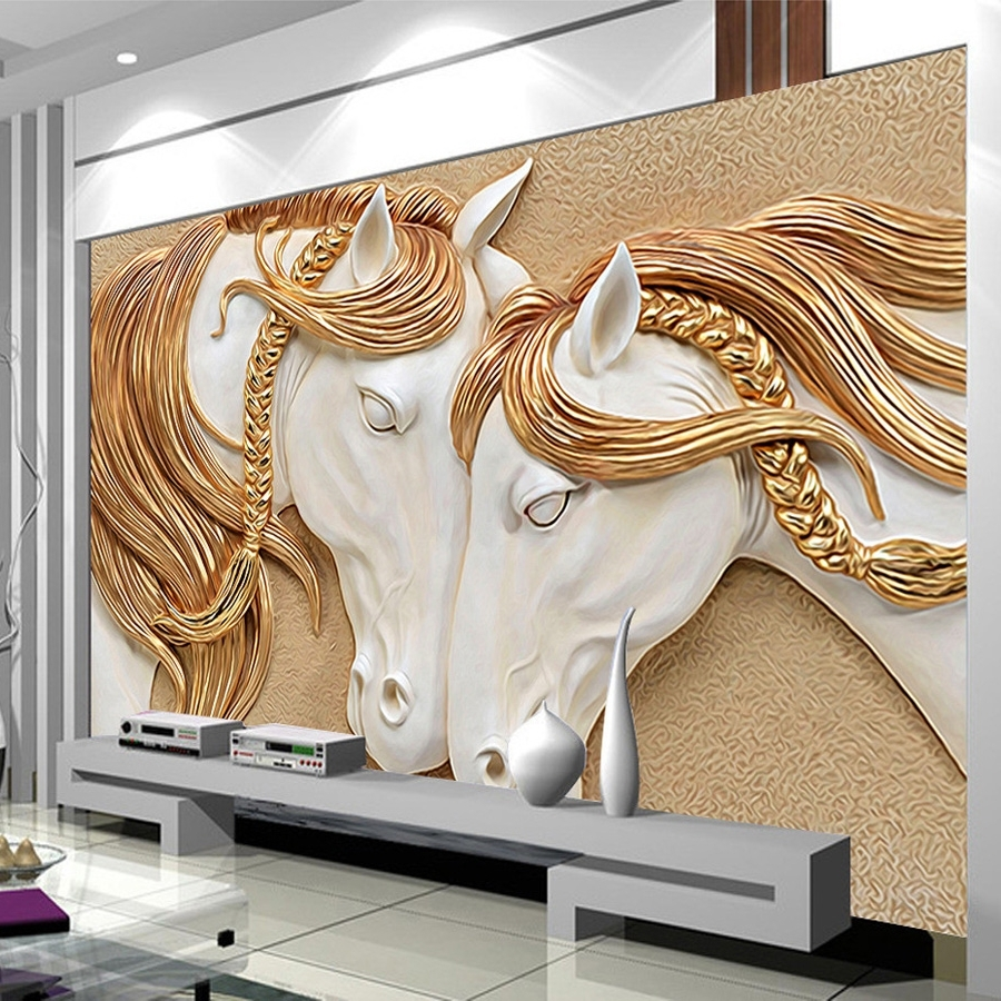 Well Liked Custom Mural Wallpaper 3D – Golden Mane Horses – Wall Art Inside 3D Wall Art Wallpaper (View 14 of 15)