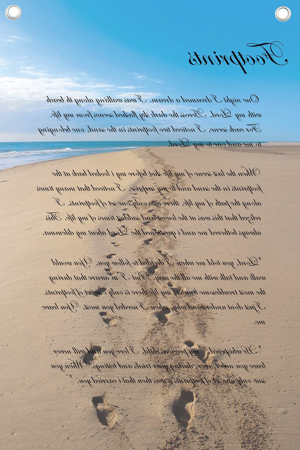 Well Liked Footprints In The Sand Wall Art In Footprints In The Sand Poem – Wall Quotes Canvas Banner (View 14 of 15)