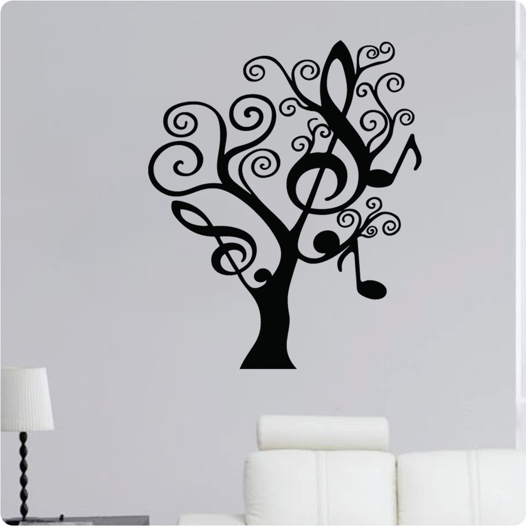 Well Liked Funky Black Tree Wall Decals – Check Out These Creative Decals For Music Theme Wall Art (View 4 of 15)