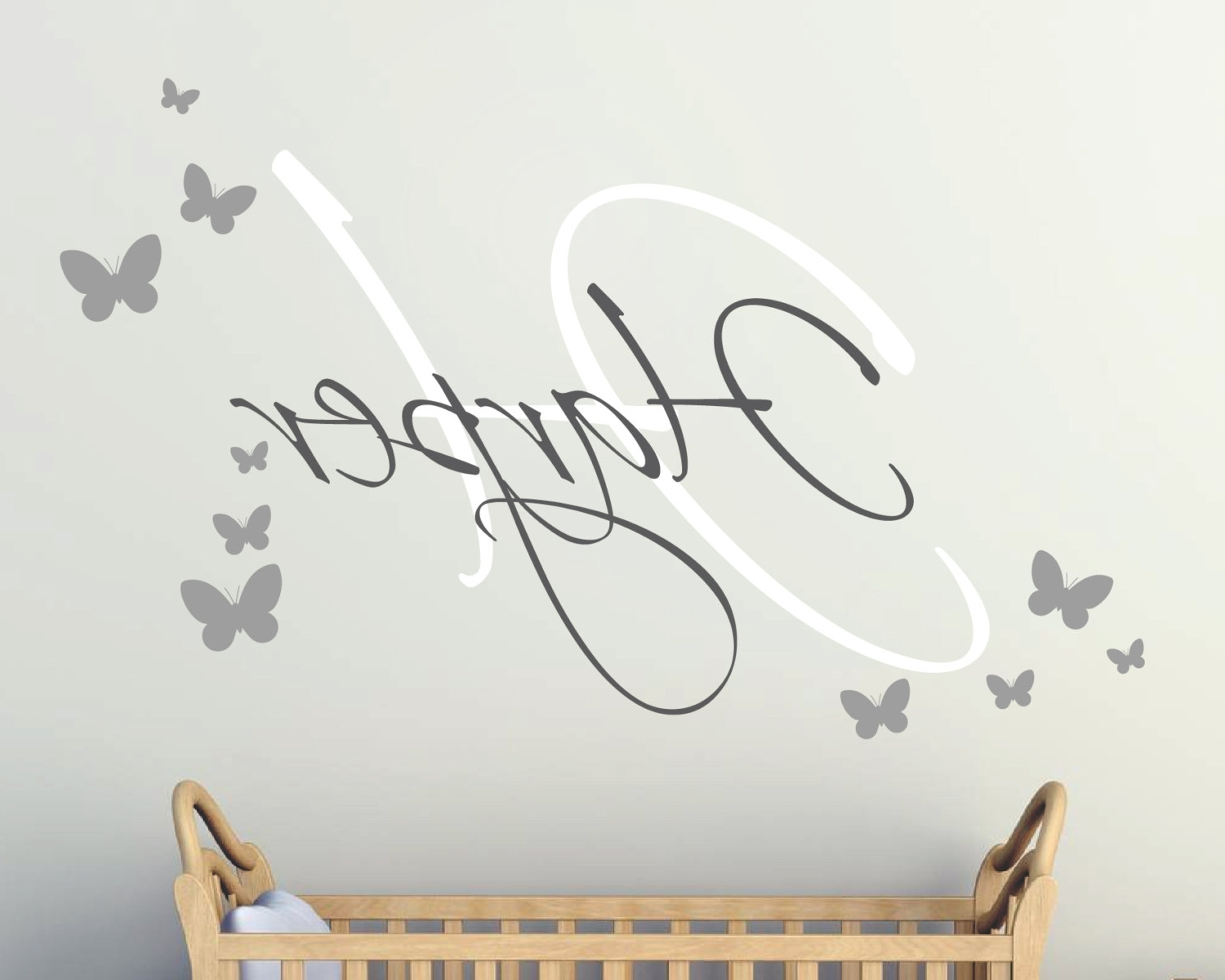 Well Liked Girls Wall Art With Butterflies  Monogram Girls Wall Sticker Throughout Wall Art For Girls (View 15 of 15)