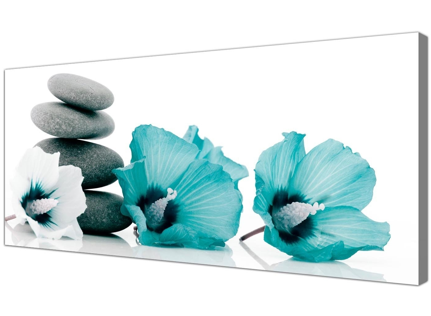 Well Liked Large Canvas Pictures Of Teal Flowers And Grey Pebbles – Turquoise With Regard To Large Teal Wall Art (View 13 of 15)