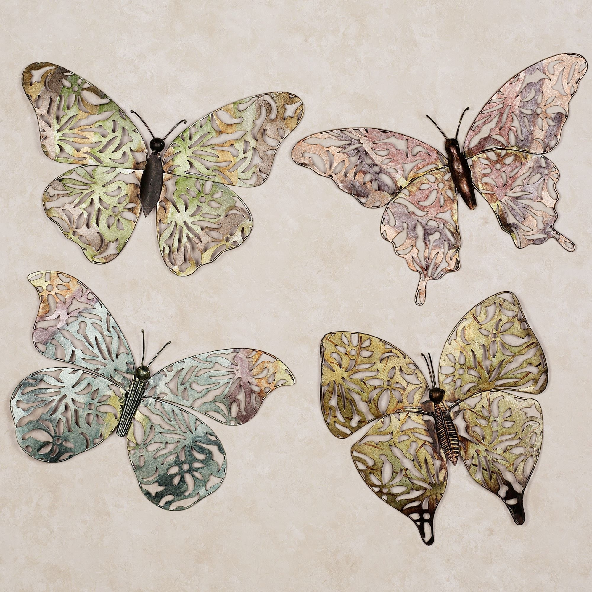 Well Liked Large Metal Butterfly Wall Art Inside Spring Butterfly Metal Wall Art Set (View 8 of 15)