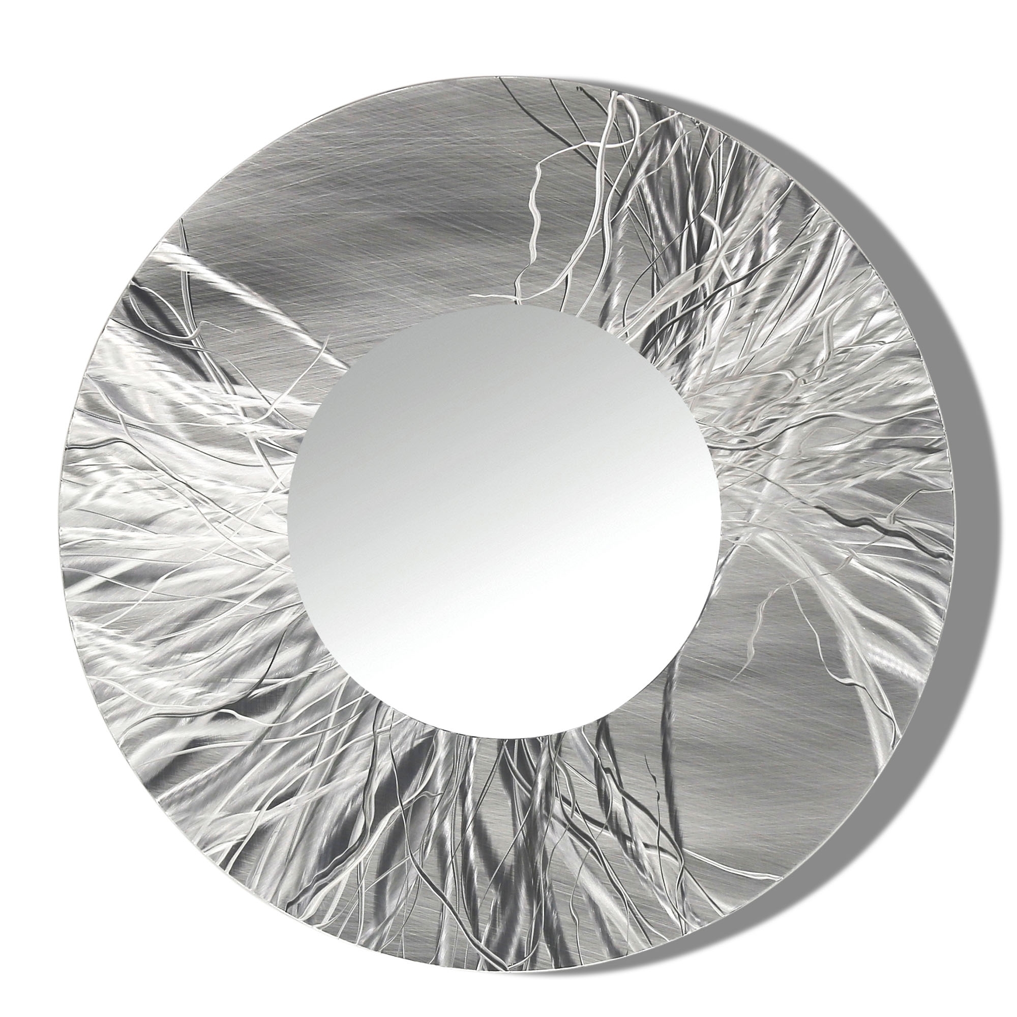 Well Liked Large Round Metal Wall Art With Regard To Mirror 104 – Round Silver Contemporary Metal Wall Art Round Mirror (View 15 of 15)
