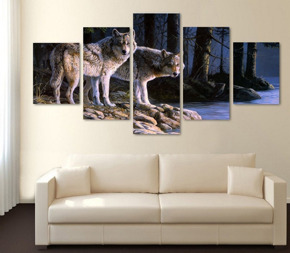 Well Liked Limited Edition 2 Wolves 5 Piece Canvas Print Throughout Limited Edition Canvas Wall Art (View 15 of 15)