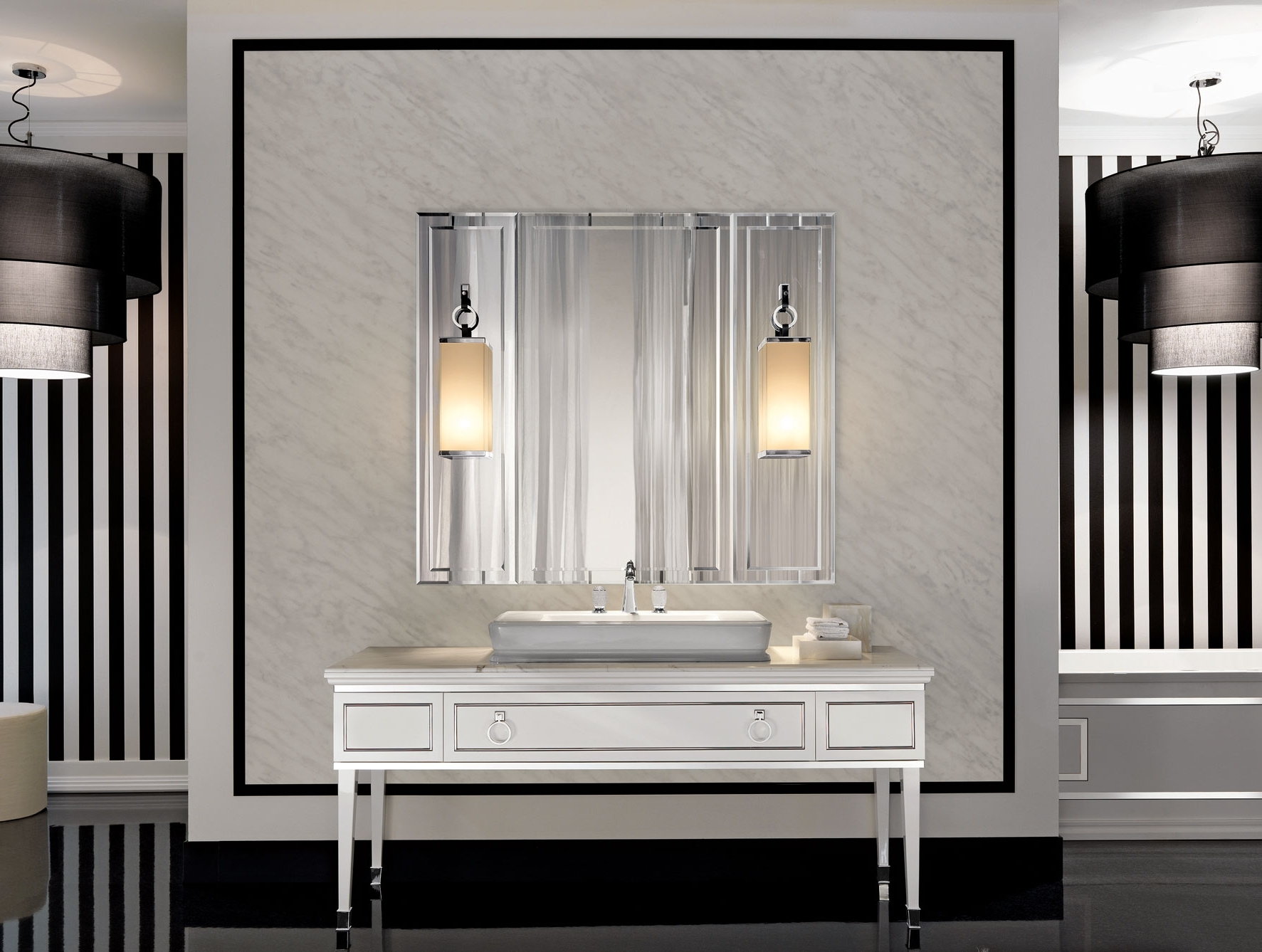 Well Liked Lutetia L3 Luxury Art Deco Italian Bathroom Furniture In White Lacquer Inside Italian Wall Art For Bathroom (View 14 of 15)