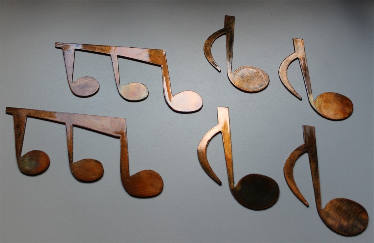 Well Liked Music Metal Wall Art Regarding Notes Set Of 6 Metal Wall Art Copper/bronze Plated (View 15 of 15)
