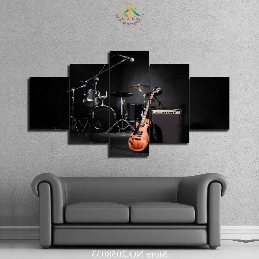 Well Liked Musical Instrument Wall Art With Regard To 4 Or 5 Pieces Music Guitar Drum Instruments Home Decor Wall Art (View 15 of 15)