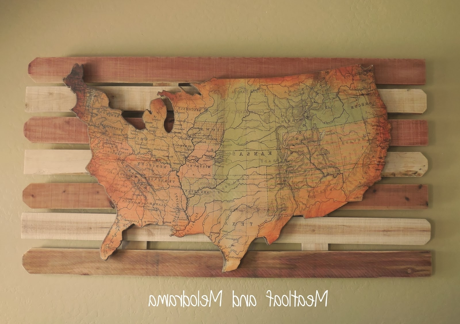 Well Liked Natural Wood Wall Art With Regard To United States Map Wall Decor Rustic Wall Art Ideas Rustic Display (View 15 of 15)