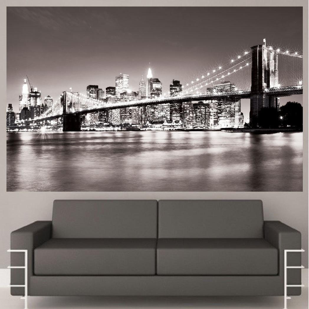 Well Liked New York Brooklyn Bridge Canvas Wall Art Black And White New Regarding New York Skyline Canvas Black And White Wall Art (View 5 of 15)