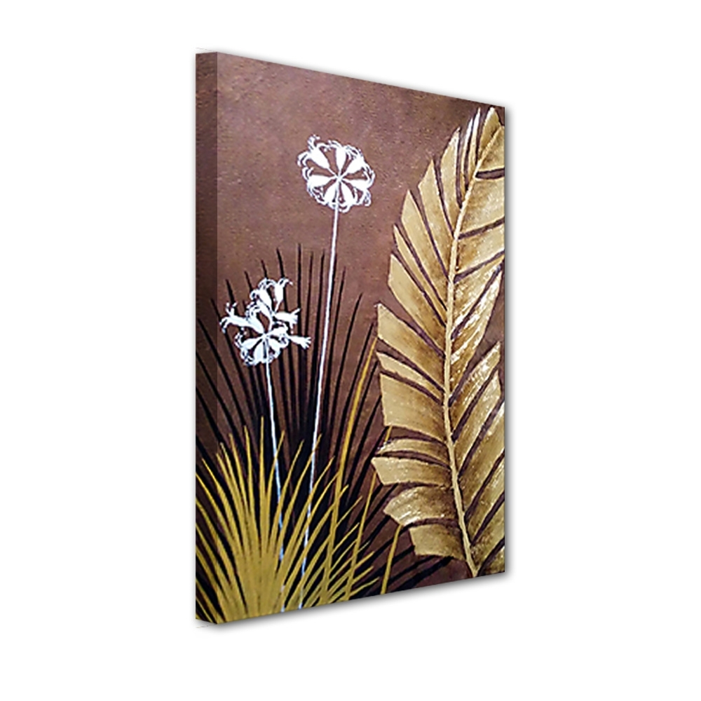 Well Liked Palm Leaf Wall Art Throughout Modern Large Wall Art Landscape Golden Foil Palm Leaves Oil (View 15 of 15)