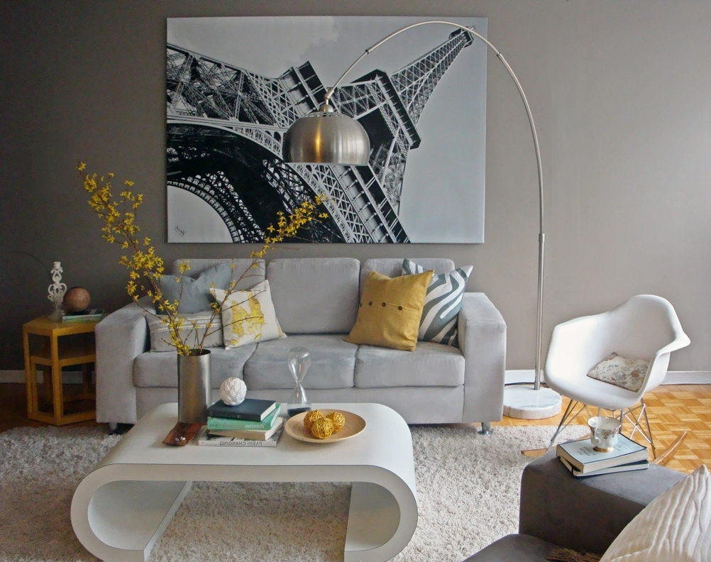 Well Liked Paris Themed Wall Art With Regard To Yellow And Grey Living Room Eiffel Tower Paris Wall Decoration (View 15 of 15)