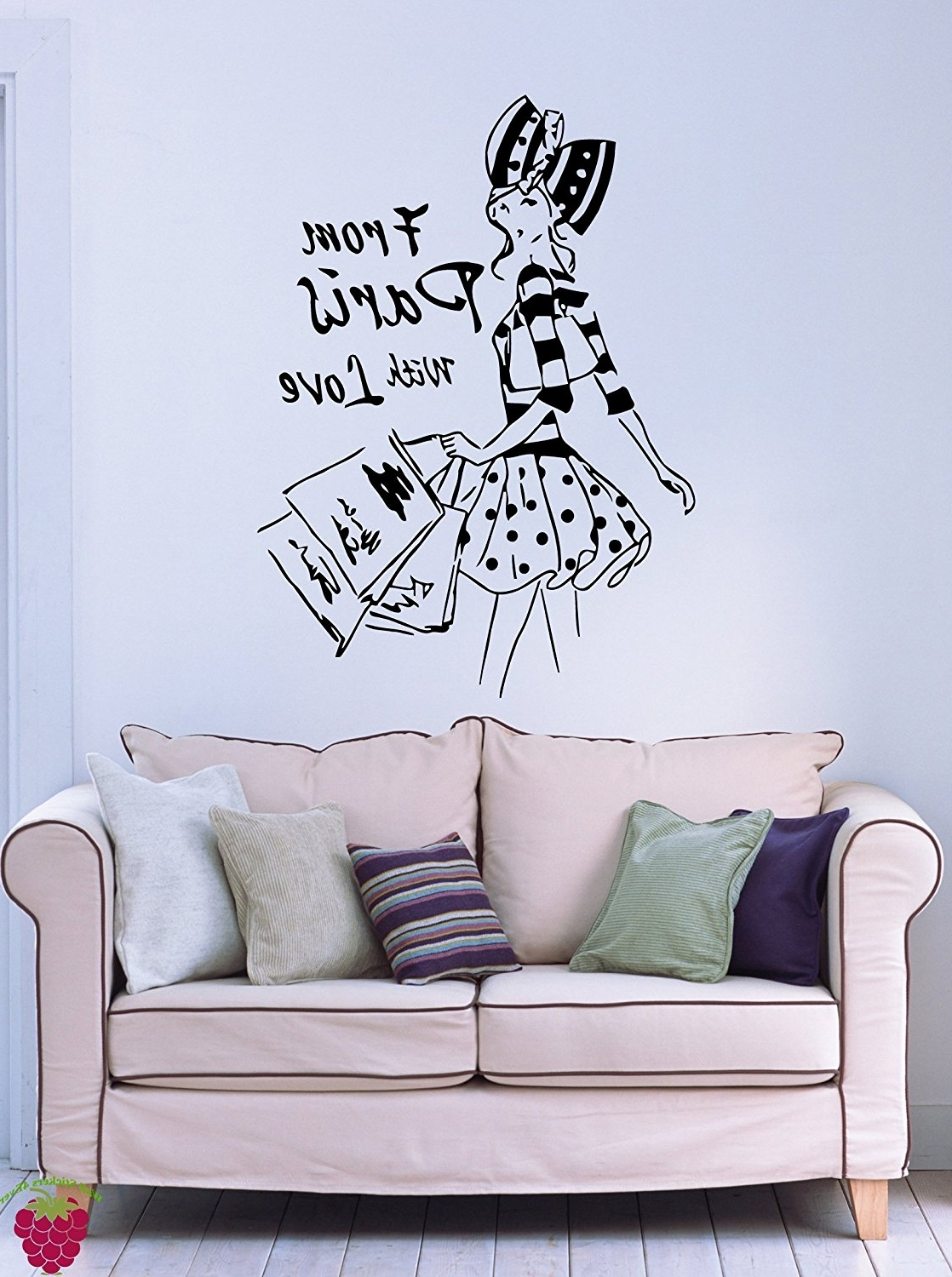 Well Liked Paris Vinyl Wall Art Inside Amazon: From Paris With Love French Fashion Woman Decor Wall (View 14 of 15)