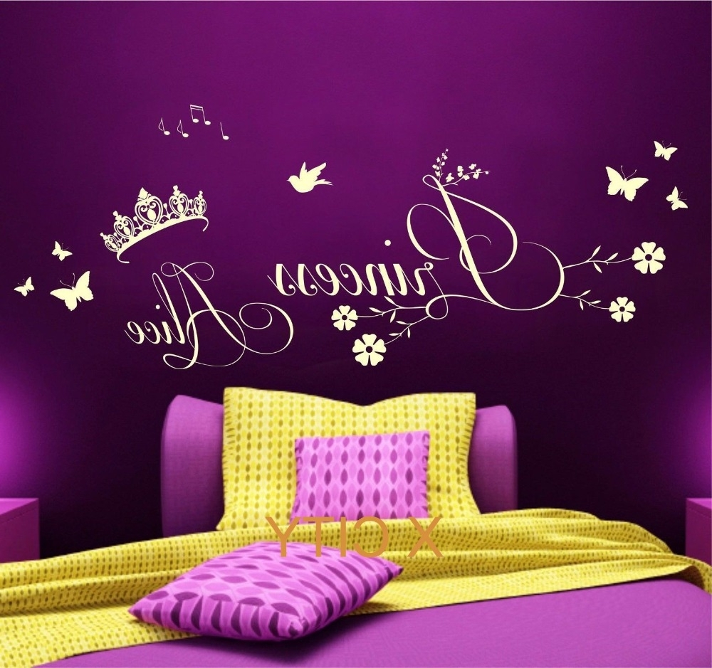 Well Liked Princess Crown Wall Art Pertaining To Princess Crown Personalised Name Children Girl Bedroom Wall Art (View 9 of 15)