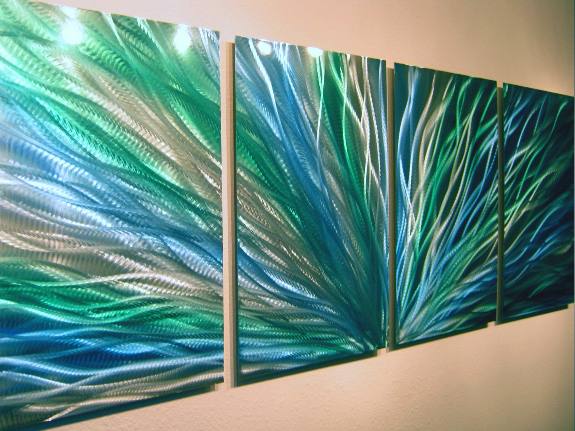 Well Liked Radiance Blue Green  Abstract Metal Wall Art Contemporary Modern With Regard To Blue Green Abstract Wall Art (View 15 of 15)