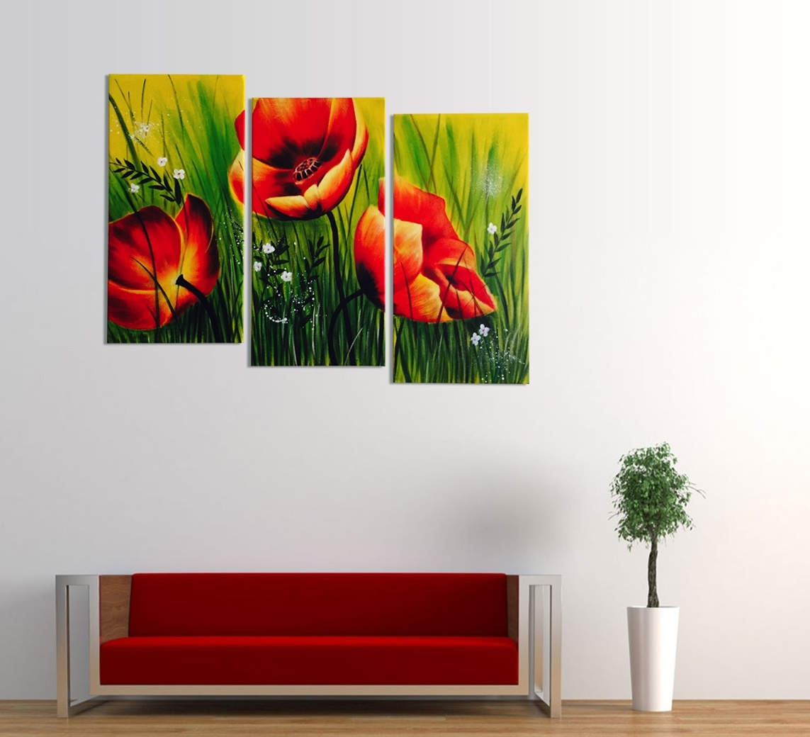 Well Liked Red Poppies Floral Acrylic Painting 3 Piece Wall Art With Regard To Wall Art Multiple Pieces (View 15 of 15)
