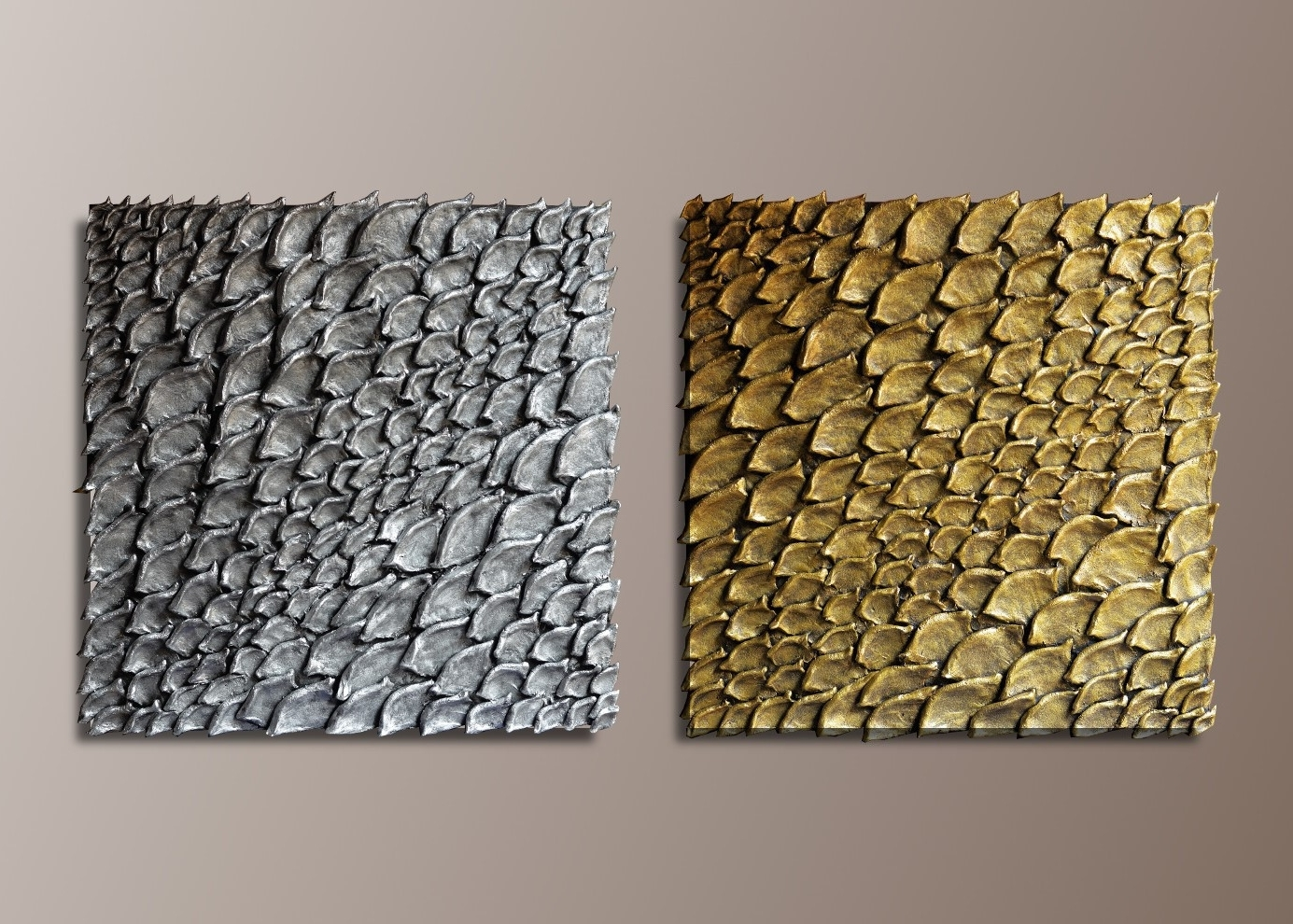 Well Liked Set Of 2 Large Wall Sculptures – Gold And Silvertextured Wall Art Pertaining To Silver And Gold Wall Art (View 14 of 15)
