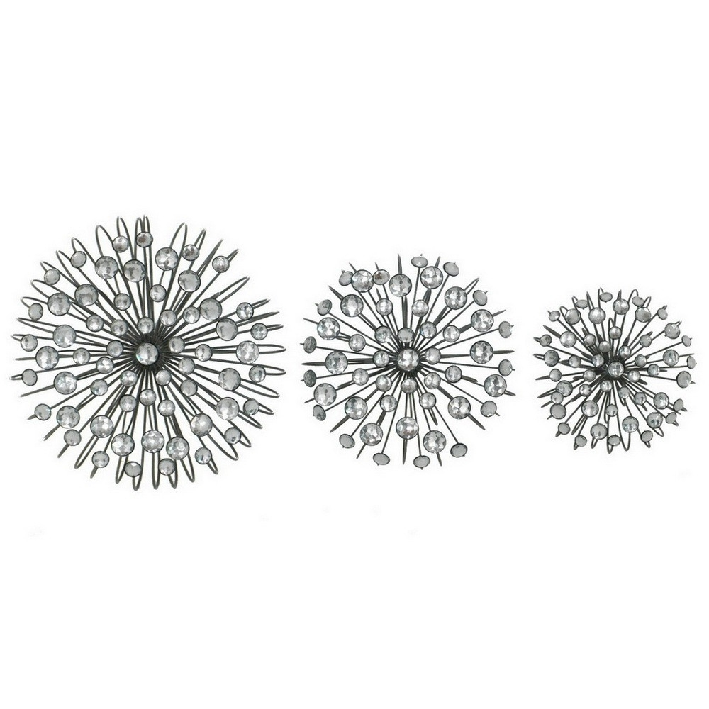 Well Liked Silver Starburst Wall Art Pertaining To 3 Piece Jeweled Wall Art Set (Connswall9) : Decor & Accessories (View 15 of 15)