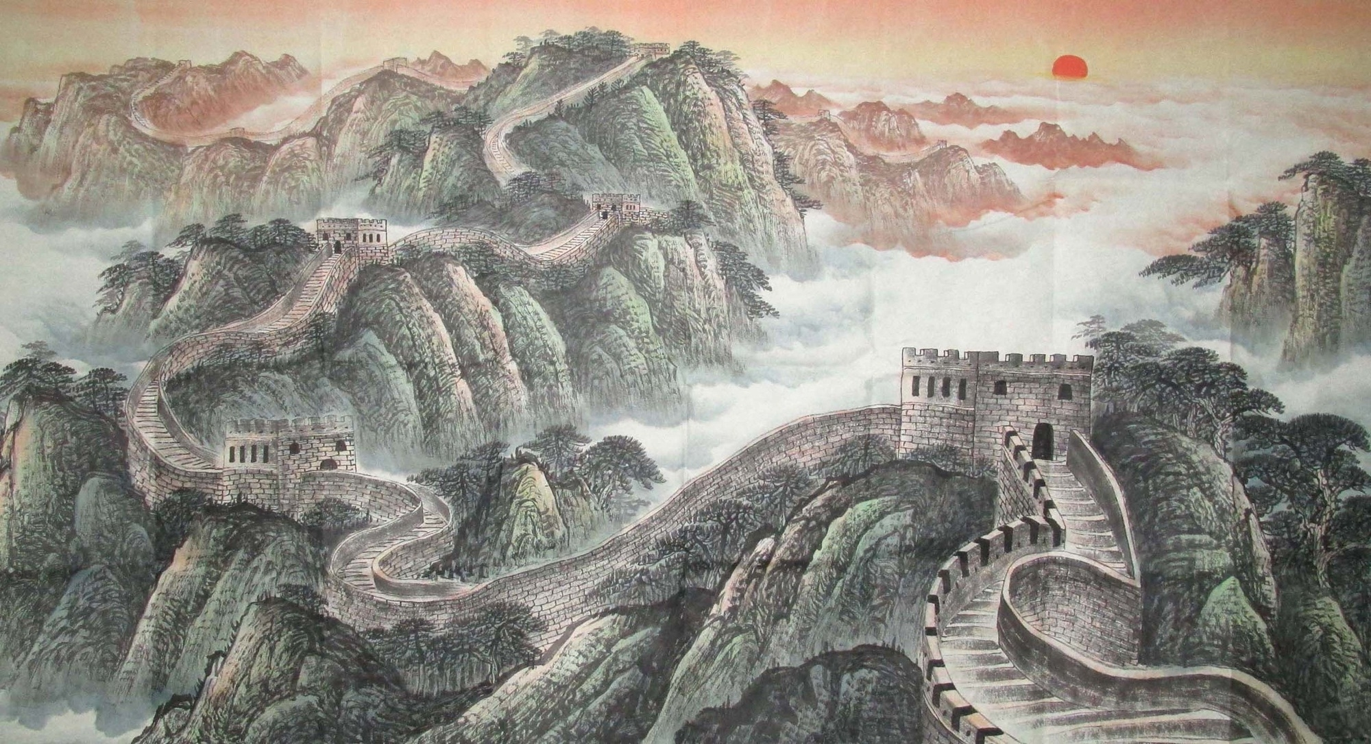 Well Liked The Great Wall Landscape Freehand Brush Work Chinese Ink Painting For Great Wall Of China 3D Wall Art (View 15 of 15)